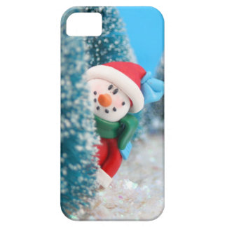 Snowman hiding or peeking from behind a tree iPhone 5 covers
