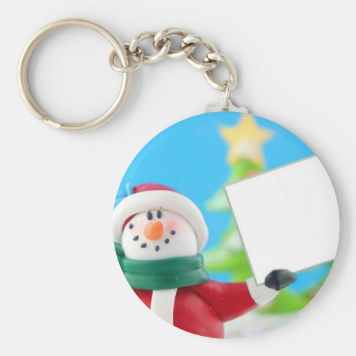 Snowman holding a blank sign key chain
