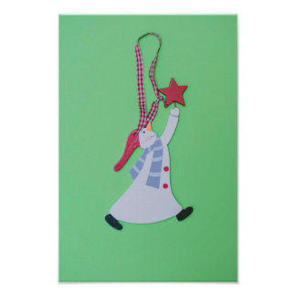 Snowman holding a star Christmas decoration Photographic Print