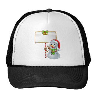 Snowman Holding Christmas Sign Cap
