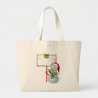 Snowman Holding Christmas Sign Large Tote Bag