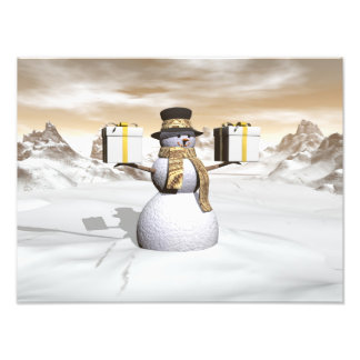 Snowman holding gifts photograph