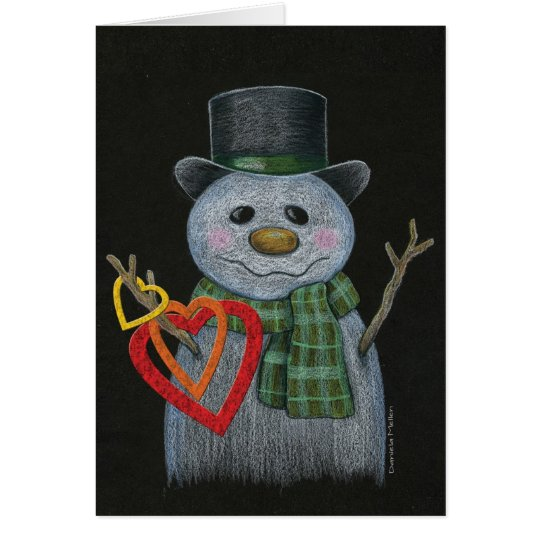 Snowman Holding Heart Rings Notecard