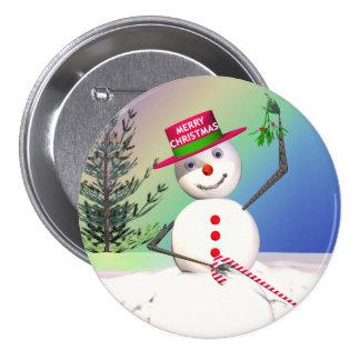 Snowman Holding Mistletoe Pinback Buttons