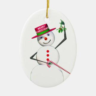 Snowman Holding Mistletoe Christmas Ornament
