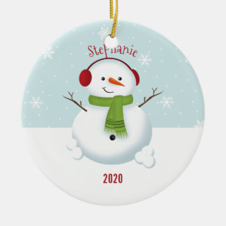 Snowman Holiday Cheer Round Ceramic Decoration