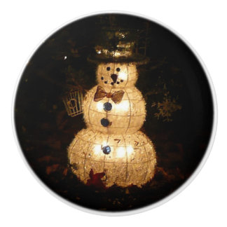Snowman Holiday Light Display Ceramic Knob