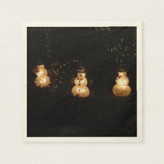 Snowman Holiday Light Display Paper Napkins