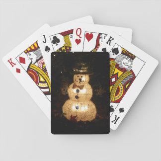 Snowman Holiday Light Display Poker Deck