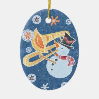Snowman Horn Making Xmas Holiday Music Christmas Ornament