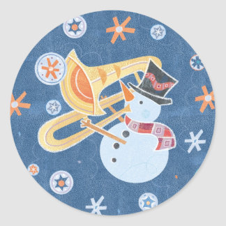 Snowman Horn Making Xmas Holiday Music Classic Round Sticker