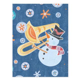 Snowman Horn Making Xmas Holiday Music Postcard