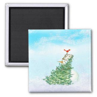 snowman hug magnet
