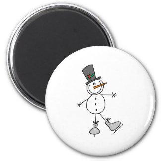 Snowman Ice Skating 6 Cm Round Magnet