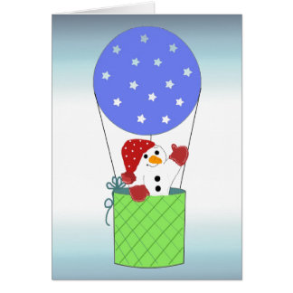 Snowman in a Hot Air Balloon Card
