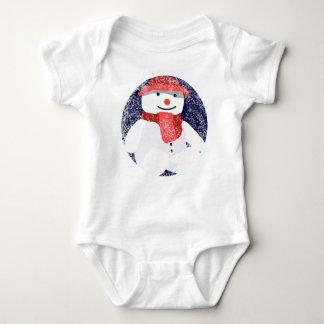 Snowman in a Red Hat Baby Bodysuit