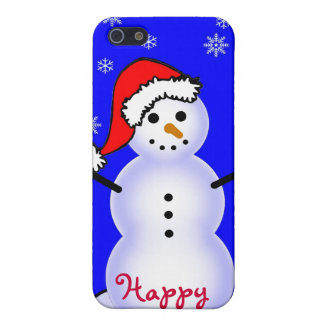 Snowman in a Santa Hat, Happy Holidays! Case For The iPhone 5