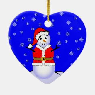 Snowman in a Santa Suit Heart Ornament
