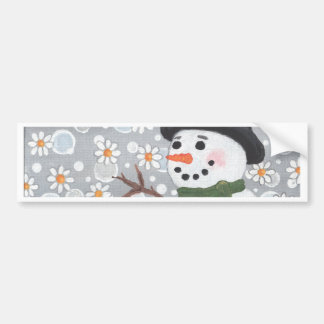 Snowman in a Snowstorm Car Bumper Sticker