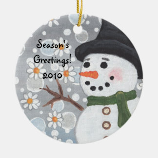 Snowman in a Snowstorm, Season's Greetings!  2010 Christmas Ornament