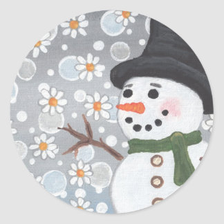 Snowman in a Snowstorm Round Stickers