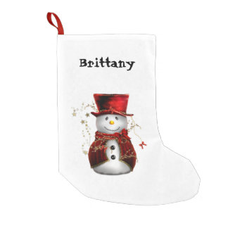 Snowman in a Top Hat Christmas Stocking