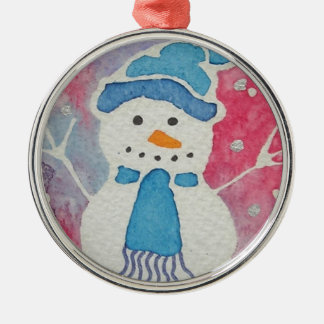 snowman in a wooly hat christmas ornament