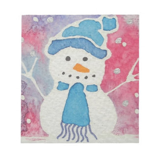 snowman in a wooly hat notepad