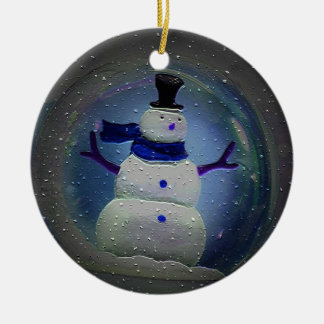 Snowman in Blue Christmas Ornament