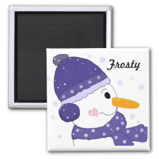 Snowman in Blue Hat and Scarf Square Magnet