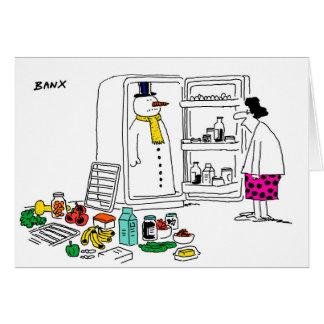 Snowman in fridge Xmas card