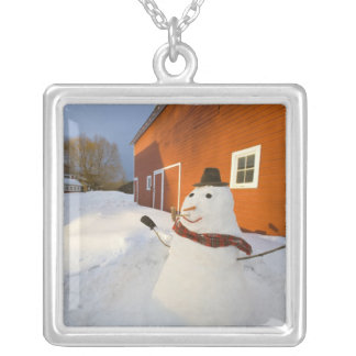 Snowman in front of red barn in Columbia Falls Silver Plated Necklace