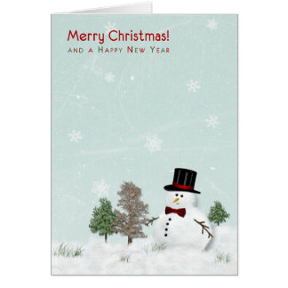 Snowman in Meadow Christmas Xmas Holiday Card