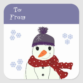 Snowman in Purple Hat and Red Scarf Square Sticker