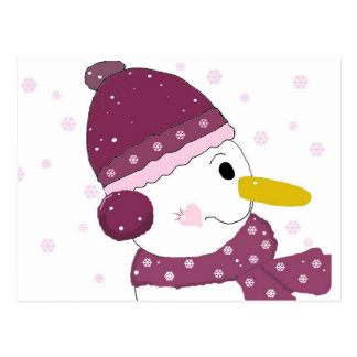 Snowman in Purple Hat and Scarf Postcard