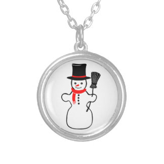 Snowman in Scarf and Top Hat Holding Broom Necklaces