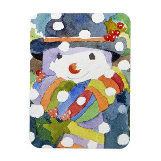 Snowman in snow 2011 rectangular photo magnet