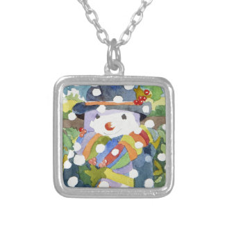 Snowman in snow 2011 silver plated necklace