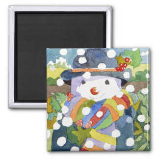 Snowman in snow 2011 square magnet
