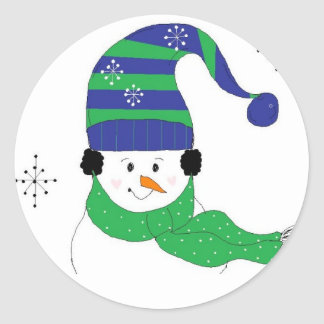 Snowman in Striped Hat Round Sticker