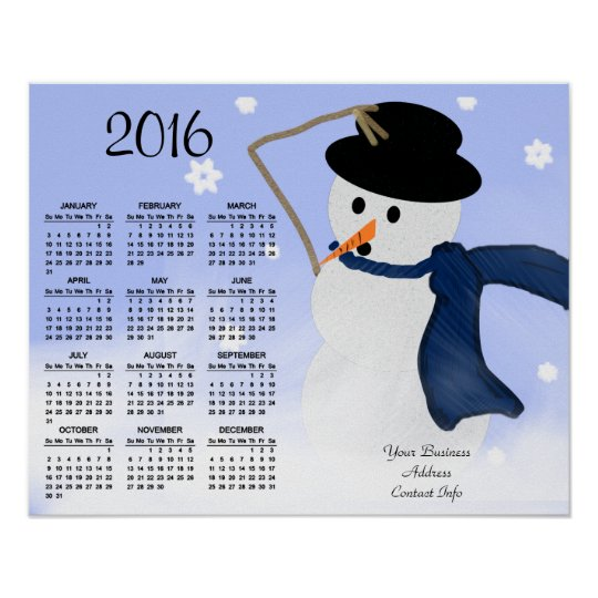 Snowman in the Wind Business Promo 2016 Calendar Poster