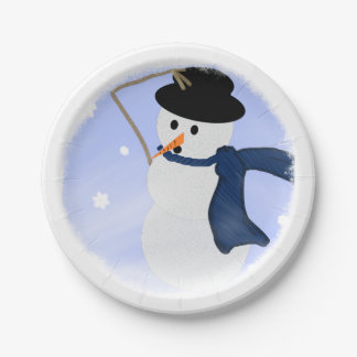 Snowman in the Wind Paper Plate