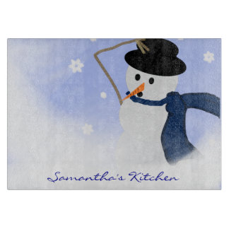 Snowman in the Wind Personalized Cutting Board