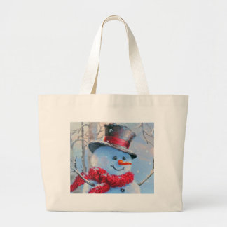 Snowman in the Woods Large Tote Bag