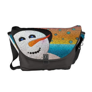 Snowman In Tophat Messenger Bags