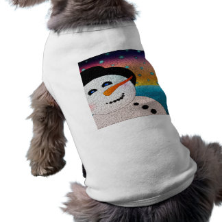 Snowman In Tophat Sleeveless Dog Shirt