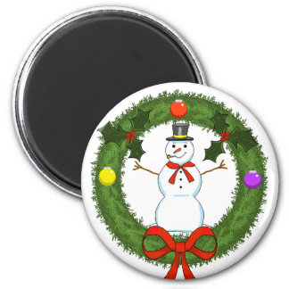 Snowman in Wreath Holiday Magnet