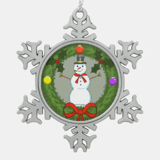 Snowman in Wreath Pewter Ornament