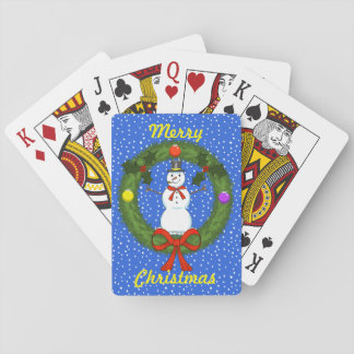 Snowman in Wreath Playing Cards