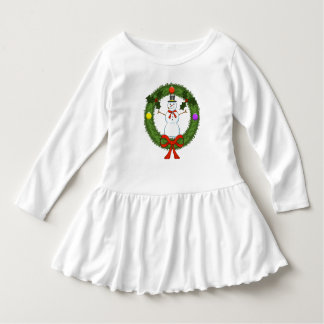 Snowman in Wreath Toddler Ruffle Dress